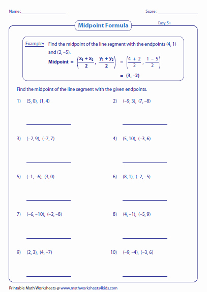 Distance and Midpoint Worksheet Lovely Find the Midpoint Of A Line Segment with the Given