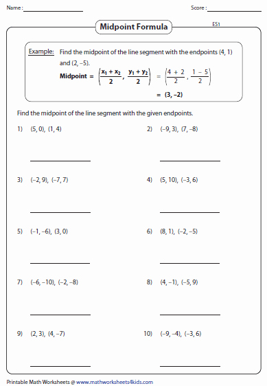Distance and Midpoint Worksheet Lovely Midpoint formula Worksheets