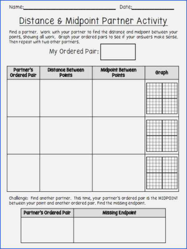 Distance and Midpoint Worksheet Luxury Midpoint and Distance formula Worksheet