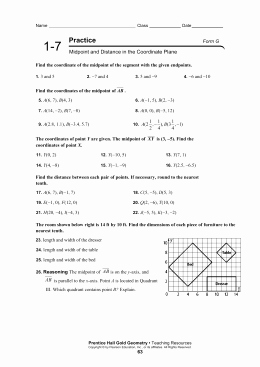 Distance and Midpoint Worksheet Luxury Midpoint and Distance Worksheet