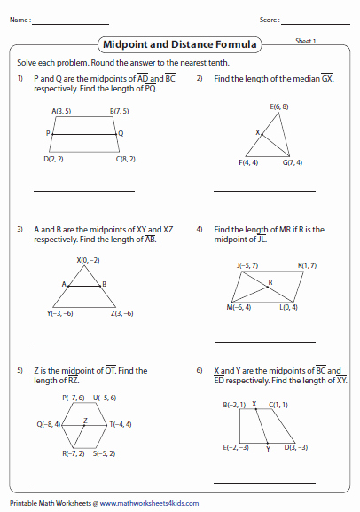 Distance and Midpoint Worksheet New Distance formula Worksheets