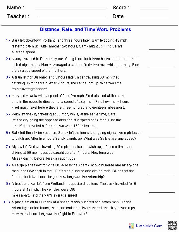 Distance formula Word Problems Worksheet Beautiful Algebra 2 Worksheets