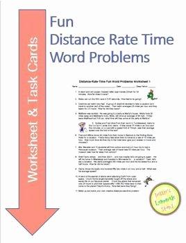 Distance formula Word Problems Worksheet Beautiful Distance Rate Time Fun Word Problems Worksheet & Task