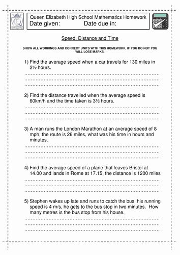 Distance formula Word Problems Worksheet Inspirational Speed Distance and Time Worksheet by Jlcaseyuk
