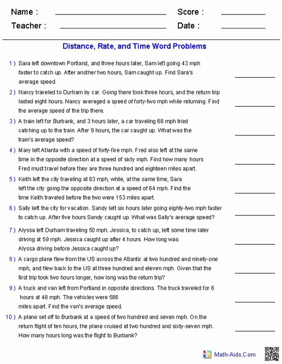 Distance formula Word Problems Worksheet Luxury Algebra 1 Word Problems and Algebra On Pinterest