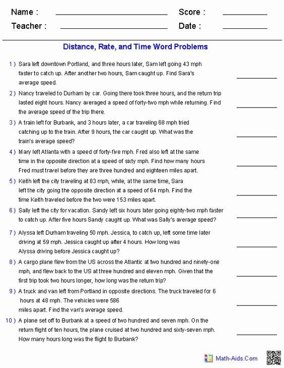 Distance formula Word Problems Worksheet Luxury Algebra 1 Word Problems and Algebra On Pinterest