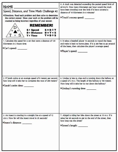 Distance formula Word Problems Worksheet Luxury Worksheet Speed Math Challenge Version 1