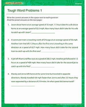 Distance formula Word Problems Worksheet New tough Word Problems 1 – Free Line Distance Worksheet