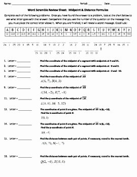 Distance formula Word Problems Worksheet New Word Scramble Review Worksheet Midpoint & Distance