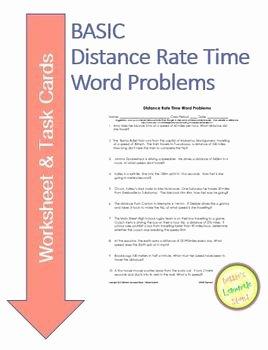 Distance formula Word Problems Worksheet Unique Distance Rate Time Word Problems Worksheet & Task Cards