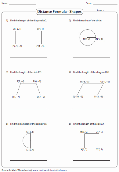 Distance formula Worksheet Geometry Awesome Distance formula Worksheets