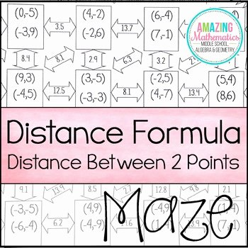 Distance formula Worksheet Geometry Beautiful Distance formula Maze by Amazing Mathematics