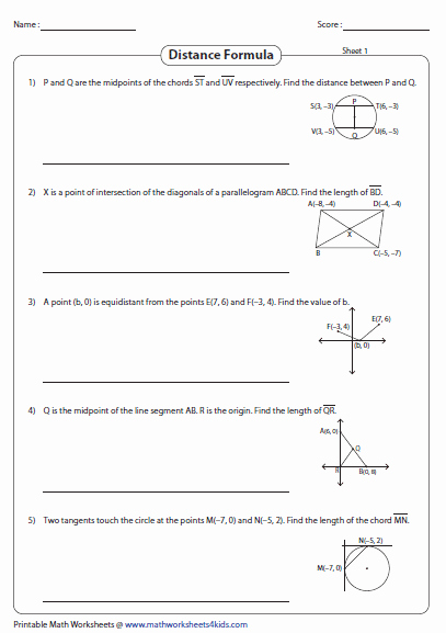 Distance formula Worksheet Geometry Best Of Distance formula Worksheets