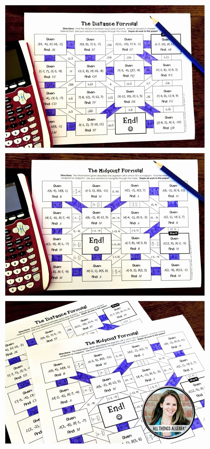 Distance formula Worksheet Geometry Lovely Distance formula and Midpoint formula Mazes