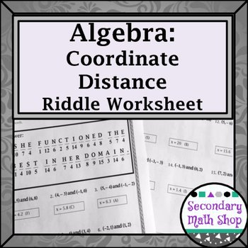 Distance formula Worksheet Geometry Lovely Distance formula Practice Riddle Worksheet by Secondary