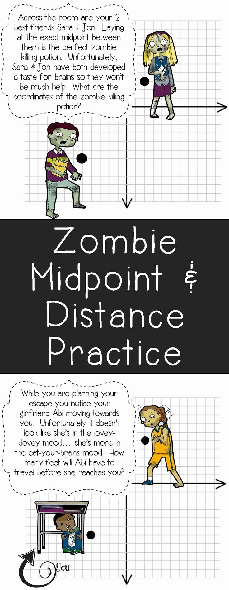 Distance formula Worksheet Geometry Luxury My Students Will Love This Zombie themed Midpoint