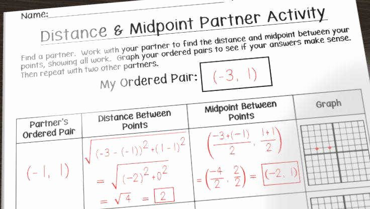 Distance formula Worksheet Geometry New Midpoint formula Worksheet