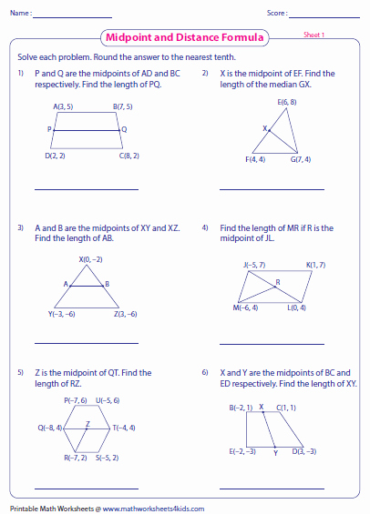 Distance formula Worksheet with Answers Beautiful Pythagorean theorem and Distance formula Worksheet Answers