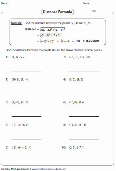 Distance formula Worksheet with Answers Best Of Distance formula Worksheets
