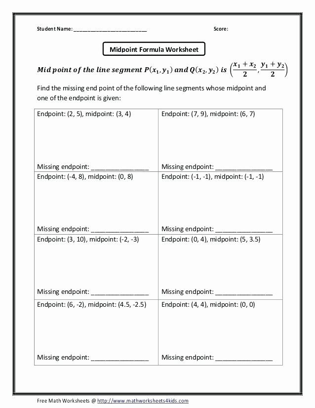 Distance formula Worksheet with Answers Elegant Midpoint and Distance formula Worksheet Zombie Answers
