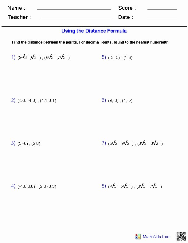 Distance formula Worksheet with Answers Elegant the Distance formula Worksheet