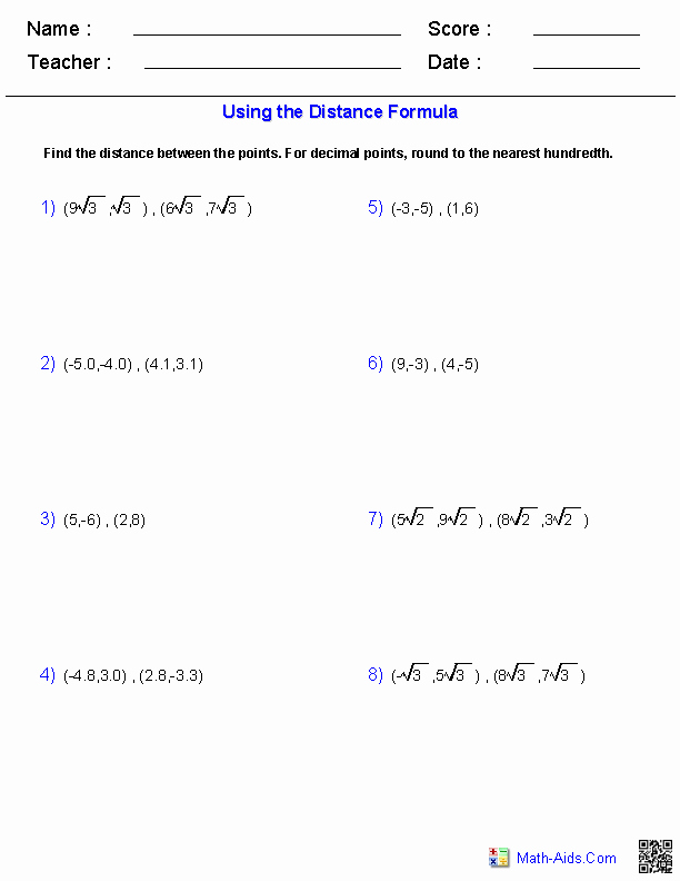 Distance formula Worksheet with Answers Fresh Algebra 1 Worksheets