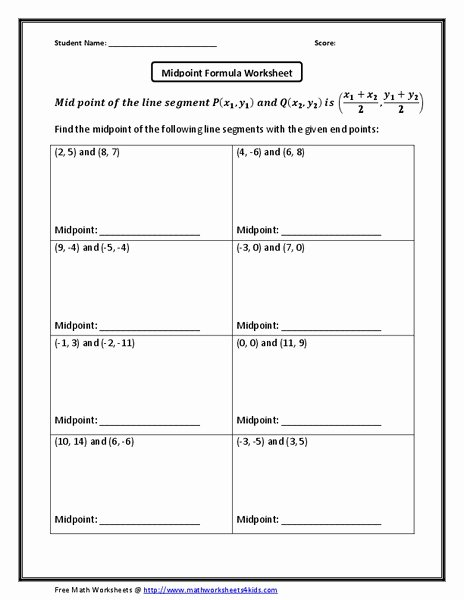 Distance formula Worksheet with Answers Fresh Midpoint formula Worksheet Worksheet for 10th Grade