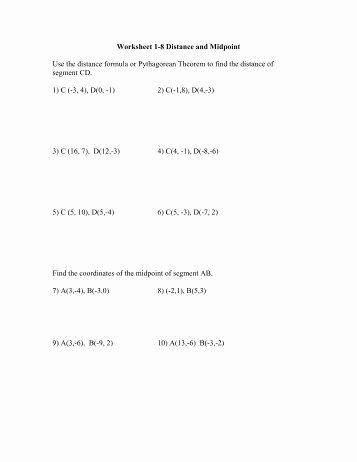 Distance formula Worksheet with Answers Inspirational Distance and Midpoint