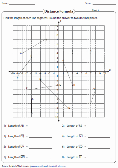 Distance formula Worksheet with Answers Lovely Distance formula Worksheets
