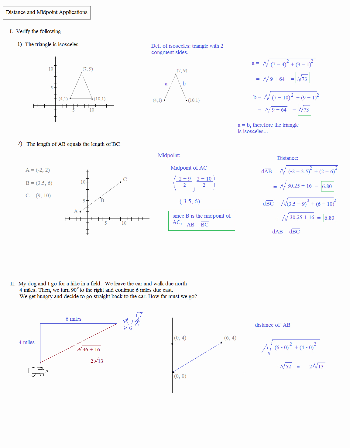 Distance formula Worksheet with Answers New Math Plane Midpoint and Distance