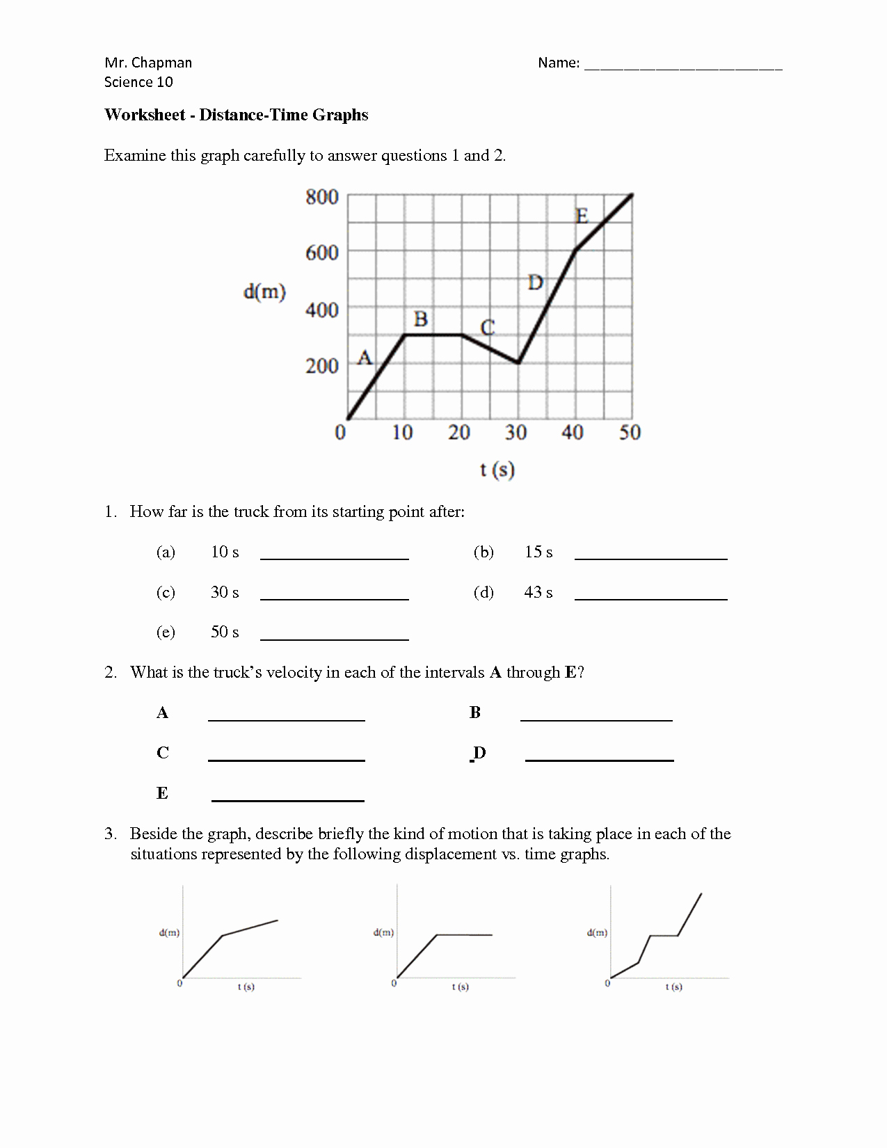 Distance Time Graph Worksheet Awesome Speed Vs Time Graph Worksheet