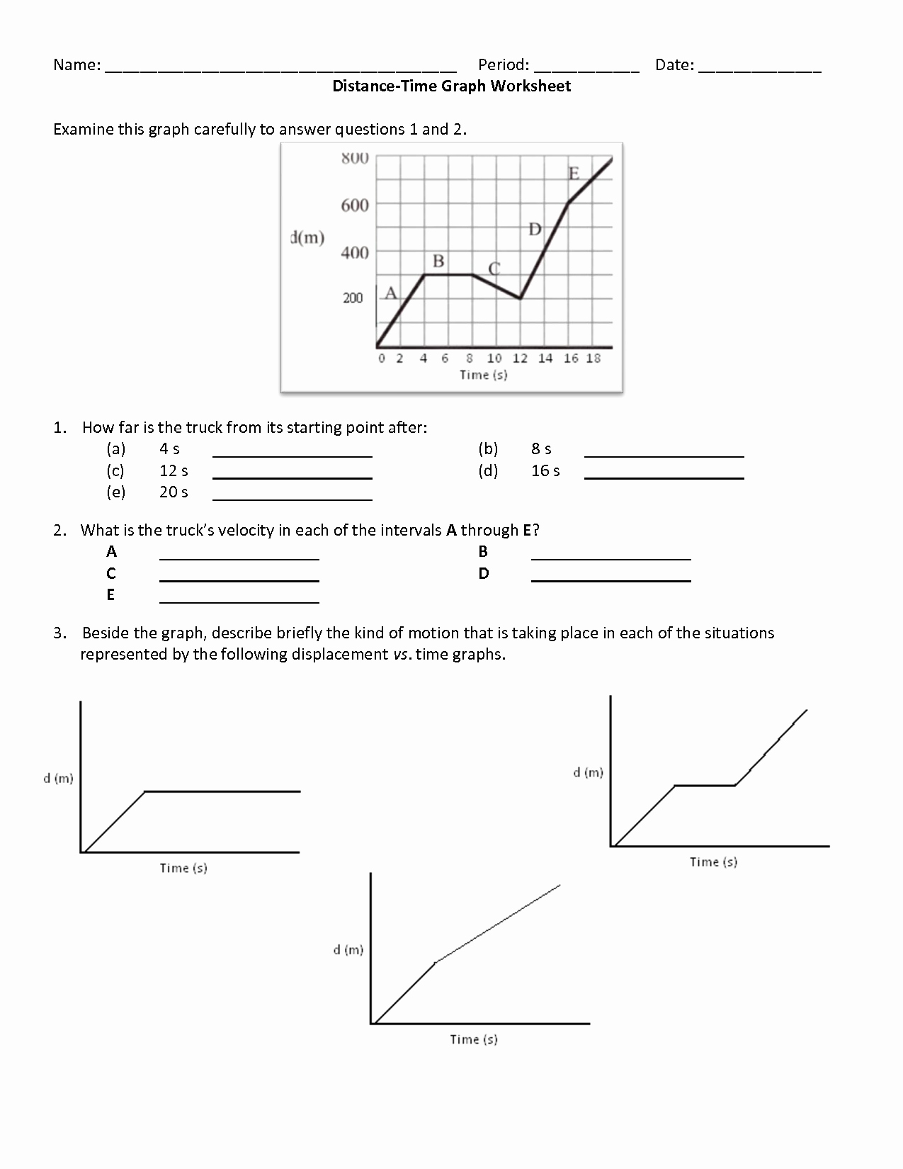 Distance Time Graph Worksheet Beautiful 8 Best Of Speed Distance Time Worksheet Time and