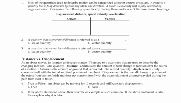 Distance Vs Displacement Worksheet Best Of Download This Describing Motion Verbally with Distance and