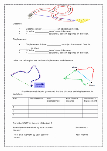 Distance Vs Displacement Worksheet Elegant Distance Vs Displacement Worksheet by Scienceamb