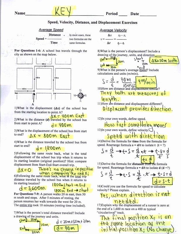 Distance Vs Displacement Worksheet Inspirational Distance and Displacement Practice Worksheet the Best