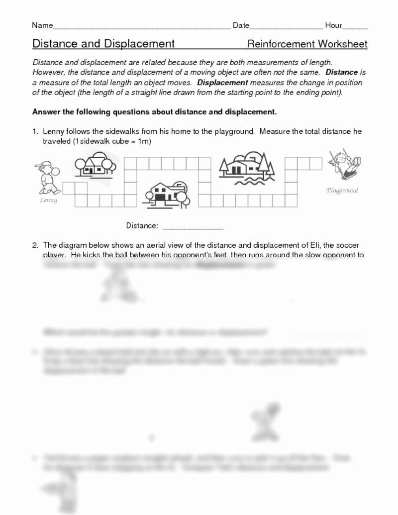 Distance Vs Displacement Worksheet Lovely Distance Displacement Worksheets