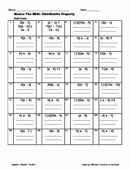 Distributive Property Equations Worksheet Awesome Algebra Worksheet Distributive Property by Excel