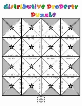 Distributive Property Equations Worksheet Beautiful Distributive Property & Bining Like Terms Puzzle