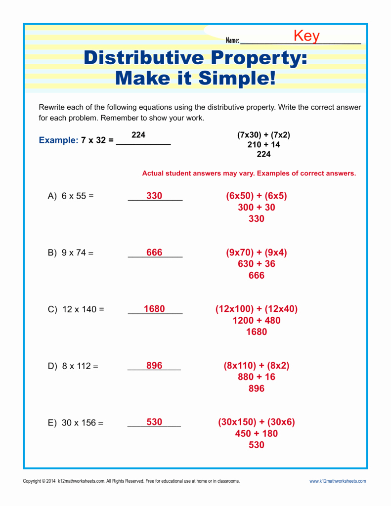 Distributive Property Equations Worksheet Beautiful Distributive Property Make It Simple