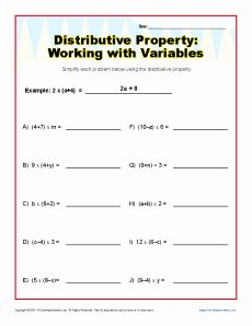 Distributive Property Equations Worksheet Beautiful Distributive Property with Variables Worksheets 6th and