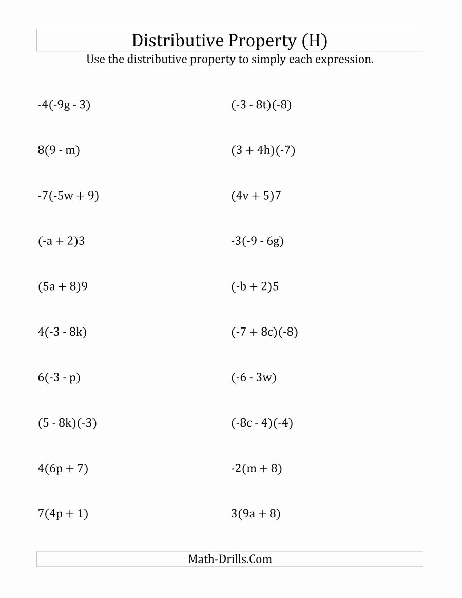 Distributive Property Equations Worksheet Best Of Using the Distributive Property Answers Do Not Include