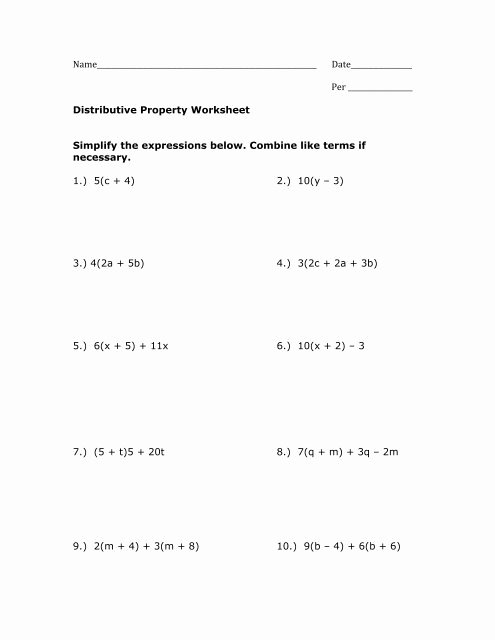 Distributive Property Equations Worksheet Fresh Distributive Property Worksheet Pdf Mrwalkerhomework