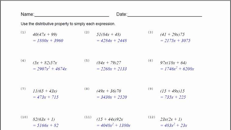 Distributive Property Equations Worksheet Inspirational 54 Distributive Property Equations Worksheet Distributive