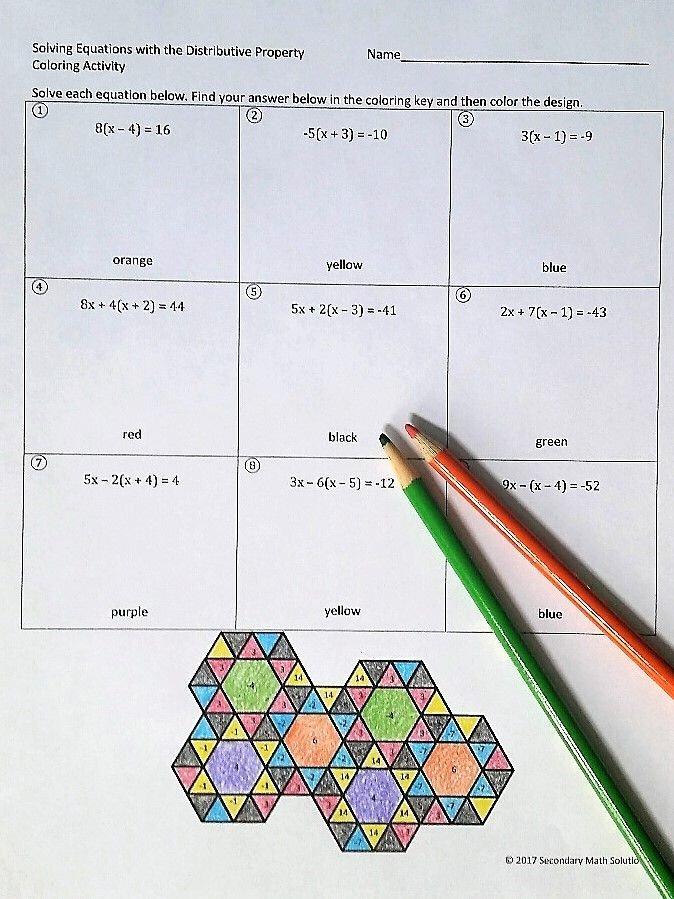 Distributive Property Equations Worksheet Inspirational solving Equations Using the Distributive Property Coloring