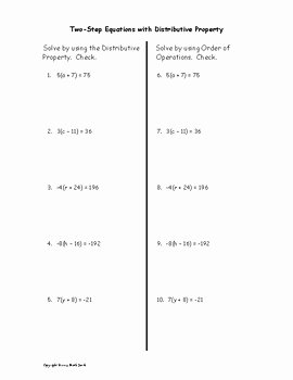 Distributive Property Equations Worksheet Luxury solve Two Step Equations with Distributive Property by