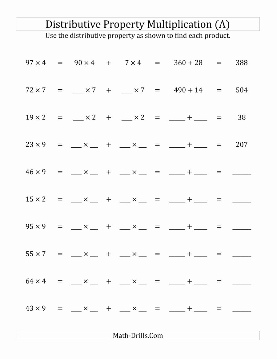 Distributive Property Equations Worksheet Unique Multiply 2 Digit by 1 Digit Numbers Using the Distributive