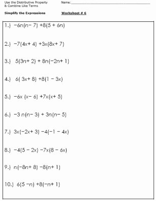 Distributive Property with Variables Worksheet Awesome 12 Best Of 6th Grade Bining Like Terms Worksheet