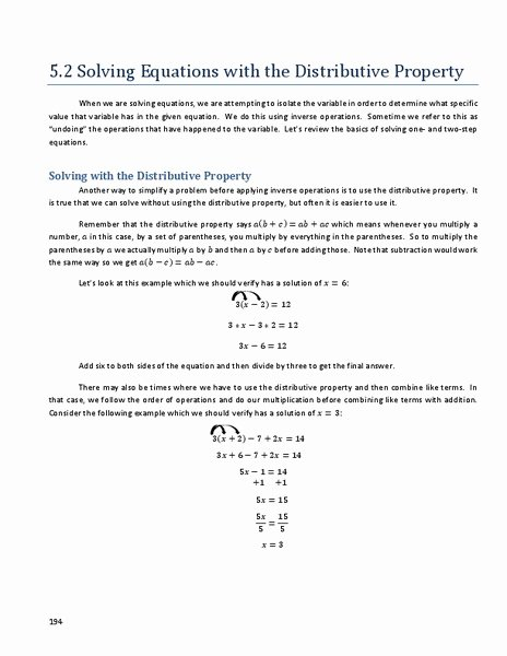 Distributive Property with Variables Worksheet Awesome 54 Distributive Property Equations Worksheet Distributive
