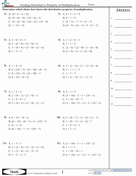 Distributive Property with Variables Worksheet Awesome Properties Worksheets