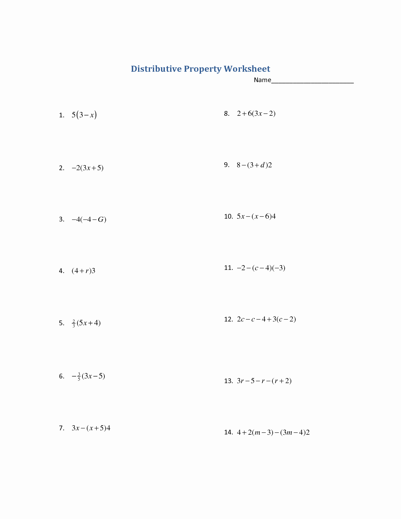 Distributive Property with Variables Worksheet Elegant 15 Best Of Distributive Property Worksheets Grade 7